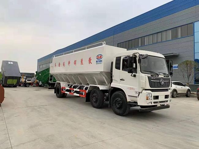东风天锦小三轴散装饲料运输车(30方)